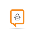 square orange speech bubble with house rent icon vector image vector image