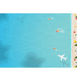 top view of beach and sea with umbrella vector image vector image
