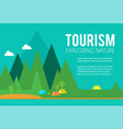tourism and travel concept tents in forest vector image vector image