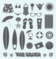 under sun beach icons vector image vector image