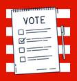 vote document bulletin concept cute cartoon list vector image vector image