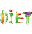 word diet made of fresh vegetables vector image