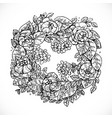 wreath flowers fantasy invented graphic vector image
