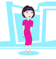 young cute girl cartoon character standing over vector image