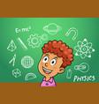 school boy write physics symbol object vector image