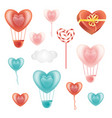 set of heart-shaped decoration elements and cloud vector image