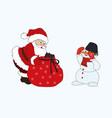 merry christmas snowman and santa claus bag gift vector image