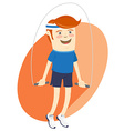 Hipster funny sportsman with skipping-rope Flat
