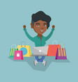 african woman using a laptop for online shopping vector image vector image