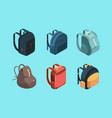 bag pack isometric schoolbag for kids education vector image