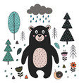 bear in forest scandinavian style vector image vector image