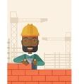 Black builder man is building a brick wall vector image