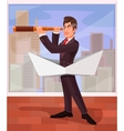 Businessman boss directs its business to various vector image