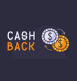 cash back hand drawn with coins icon back vector image vector image