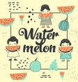 childish design with cute girls and watermelons vector image