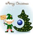 christmas card with christmas tree and christmas vector image