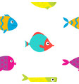 cute cartoon fish icon set seamless pattern flat vector image vector image