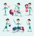 cute magician character tricks vector image vector image