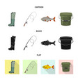 design of fish and fishing sign collection vector image