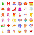 festive day icons set cartoon style vector image vector image