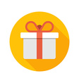 Flat White Gift Box Present with Red Bow icon vector image