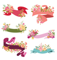 floral ribbon banners - for wedding vector image vector image