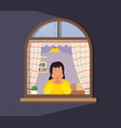 girl looks out window from apartment concept of vector image vector image