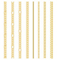golden chains set seamless pattern on white vector image