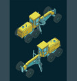 grader isometric color drawings vector image