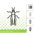grasshopper bug simple black thin line icon vector image