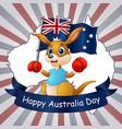 happy australia day kangaroo holding a flag on map