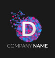 letter d logo with blue purple pink particles vector image vector image