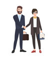 man and woman or office workers shaking hands vector image