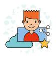 man cartoon share cloud computing social media vector image vector image