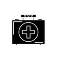 medical case black icon sign on isolated vector image