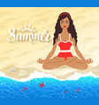 meditating young woman on beach background vector image vector image