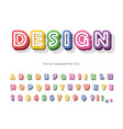 modern 3d bright font cartoon paper cut out abc vector image vector image