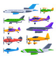 modern and retro airplanes collection flying vector image