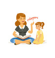 mother reading a book about religions to her vector image vector image