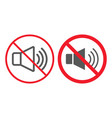 no sound line and glyph icon prohibition vector image