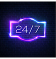 open sign 24 7 hours neon round the clock frame vector image vector image