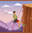 scene landscape man mountain descent rock climbing vector image vector image