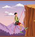 Scene landscape man mountain descent rock climbing