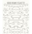 set hand drawn vignettes vector image