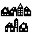 set isolated black house silhouettes vector image vector image