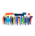 silhouette color protesting crowd vector image vector image