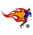 soccer player kicking a ball and has a background vector image