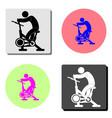 stationary bike flat icon vector image