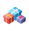 three colorful gifts with bows ribbons vector image vector image
