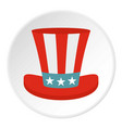 top hat in the usa flag colors icon circle vector image vector image